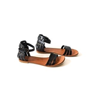 Dolce Vita BLACK Sandals with Gold Studs
